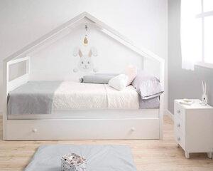 cama nido casita color blanco